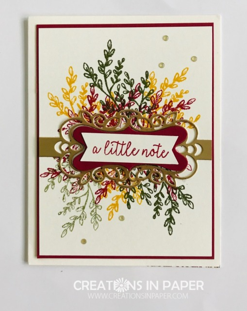 Isn't this a great Fall card? I love the bright colors. They remind me of a beautiful Fall Tree. Watch the video showing how I created this Tasteful Touches Fall Card so you can make one too.