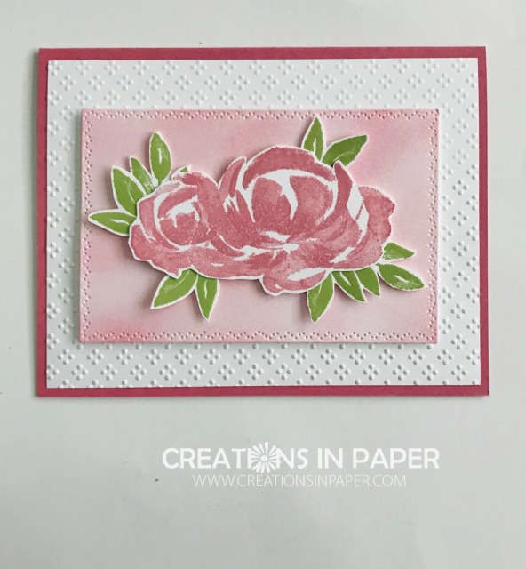 Ever wanted a panel for your card but could not find one that coordinated? Check out the video for the Embossed Beautiful Friendship with Blended Background card to see how I came up with one.