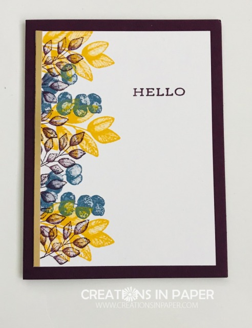 This great set was used with Fall colors for a pretty clean and simple card. Check out the video for the Forever Fern in Fall Colors creation.