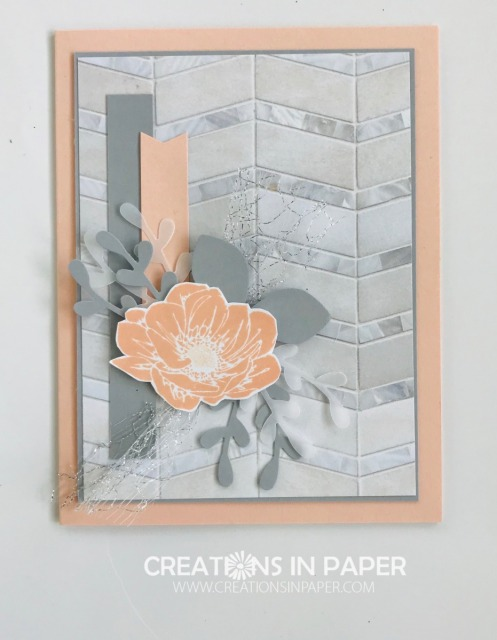 Look at this feminine card made with masculine designer series paper. The Floral Essence in Pink and Gray is perfect with that dsp. Get the details and measurements by clicking the photo.