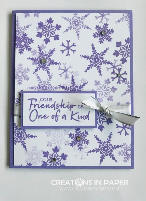 I love the depth you can create with these snowflakes. Check out this great Snowflake Wishes in Highland Heather friendship card.