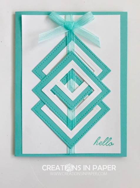 I had to play with this idea I saw online. It takes some fussing with laying the squares out correctly and then weaving the ribbon in. Check out this fun Woven Squares in Coastal Cabana card idea.
