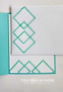 These squares give a hint to the card front. See how I used dies to create the Woven Squares in Coastal Cabana.