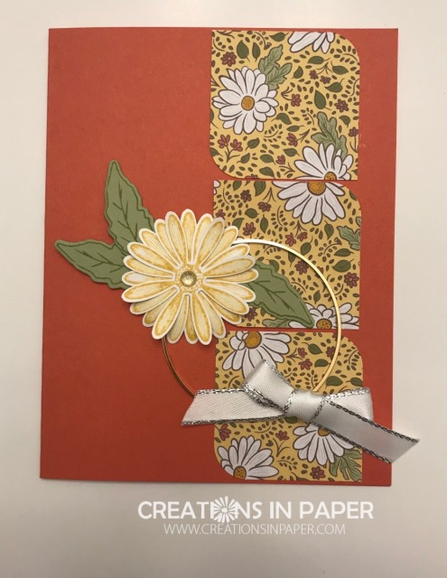 The gold hoops can be the perfect element for a clean and simple card. On the Daisy Lane and Ornate Garden card it adds just the right interest.