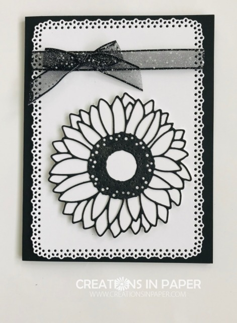 Black and white makes a very elegant card. Check out this elegant Black and White Sunflower idea.
