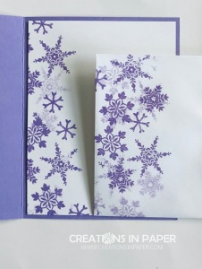 Look at the depth these purple snowflakes can create. The Snowflake Wishes in Highland Heather make a great winter card. Check out how I used them for my card front.