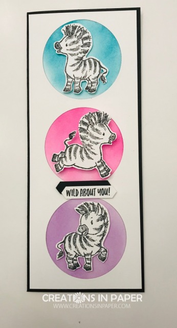 Aren't these Zebra images the sweetest? They are so playful and make the best kids cards. This idea is a Slimline Fun Zebra Card that any little one would love to get in the mail.