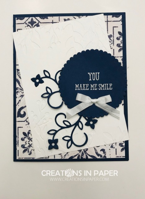 This beautiful card was easy to create using the designer series paper. Check out the Navy In Good Taste and order the supplies to make one.