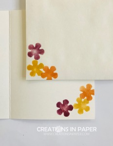 These cute flowers were made using a stencil created using a punch. Check out the Small Bloom Punch Clean and Simple Idea to see the card front.
