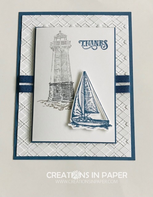 Isn't this a great masculine card? The Sailing Home Masculine Thanks is a great way to say thank you to the man in your life.