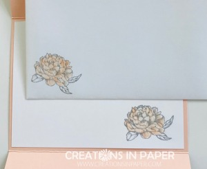 I love this little peony image. It is perfect for the inside of the card and envelope of the Peony Garden Gate Fold Card. Click the photo to order you supplies from my online store.