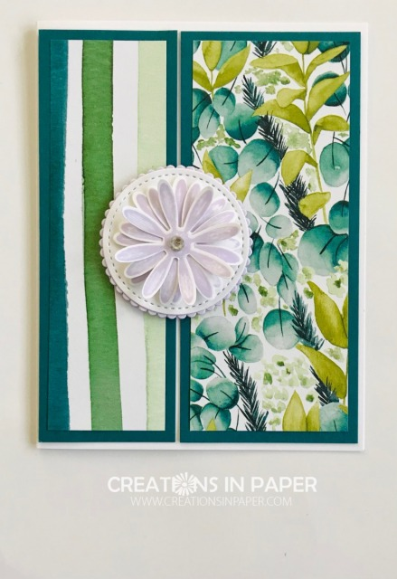 The beautiful paper used on this card is very versatile. Order the supplies from my online store to make ths Daisy Lane with Forever Greenery DSP.
