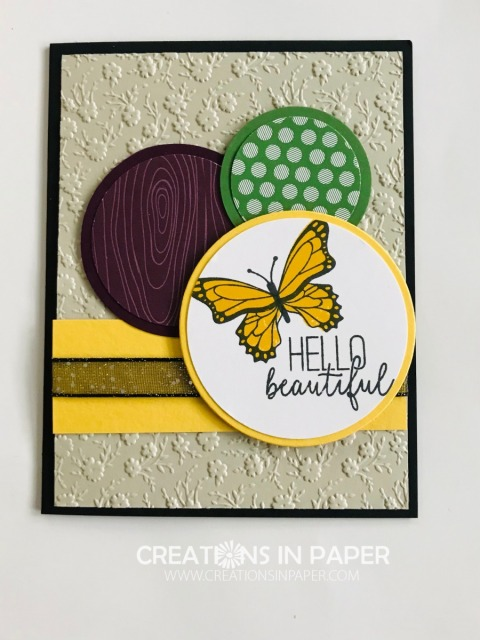 The circles are the focal image on this card. The designer series paper add some interest as does the embossed background. Check out the video for the Butterfly Gala with Circles creation.