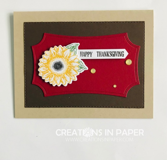 Isn't this a great Thanksgiving card? I have all the supplies listed on the blog so you order them and make this Celebrate Sunflowers Happy Thanksgiving card.