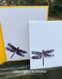 Check out this fun dragonfly! It is from the new Dragonfly Garden bundle. Those wings are colored using a stamp from the set. Check out the Stampin' Up's New Dandy Garden suite and make your list to order in January.