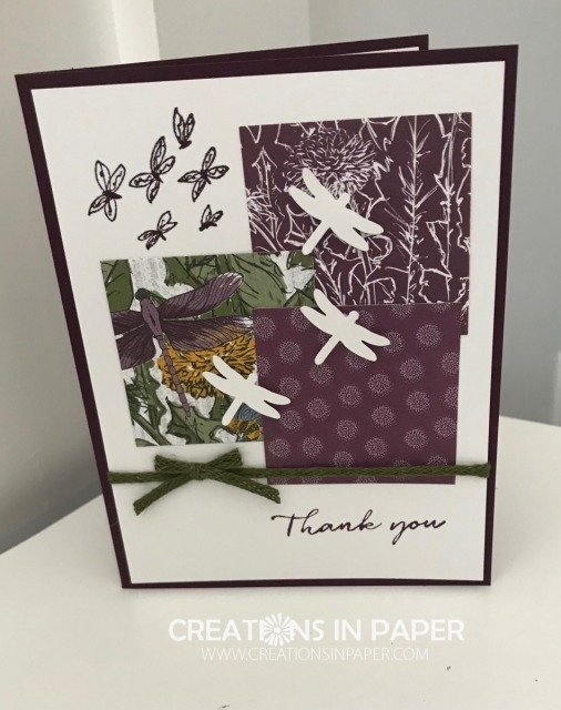 This fun card uses a new suite in the upcoming January - June mini catalog. It is a great layout to use up some of your scraps. Make sure you save this Stampin' Up Dandy Garden Thank You idea for when you order your supplies to make it.