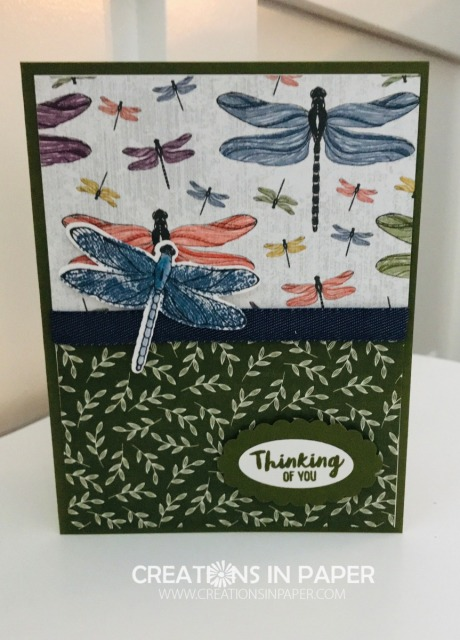 Do you have a lot of Designer Series paper? Are you looking for ways to use some of it? Check out my Handmade Dragonfly Card to see how you can use two coordinating patterns to make a great card