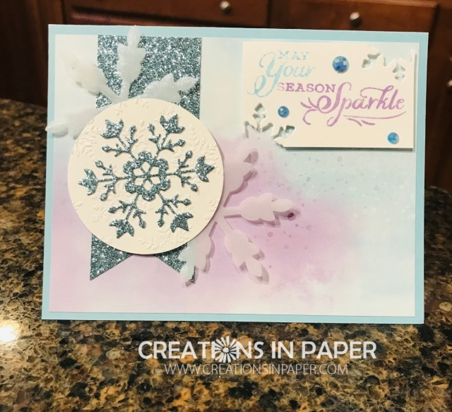 I love a beautiful snow card. The Snowflake Splendor Suite of products allows you to create beautiful cards like this Stampin' Up Snowflake Wishes Sparkle idea. Check all the suplies used and order them from my online store to make yours.