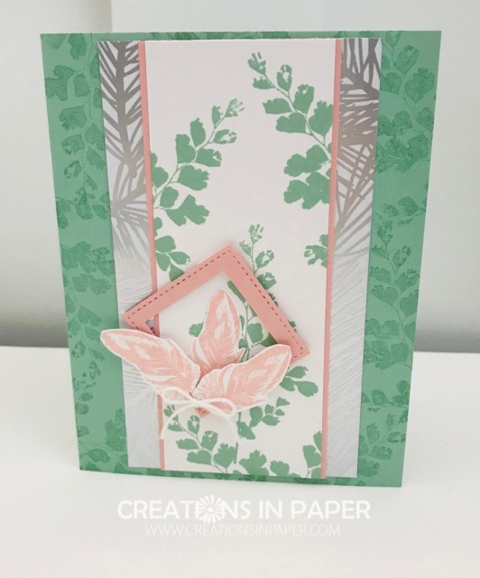 Pink and green are a great color combination.  Add using a square as a focal image and you have the perfect card.  Check out the Nature's Thoughts All Occasion Card to see how I used these ideas.