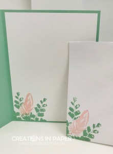Don't you just love this pink and green color combination!  You have got to check out the card front to see how I use the colors and a square frame as the focal point for the Nature's Thoughts All Occasion Card.