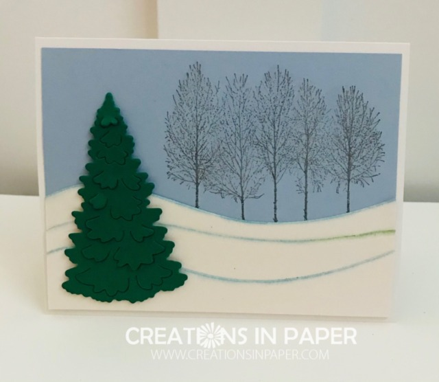 This is a great winter scene card that uses one stamp set. The Winter Woods by Stampin' Up stamp set and the Curvy dies combine well to create this beautiful card.