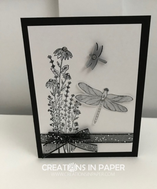Have you seen the Stampin' Up Dragonfly Garden bundle yet? It is a great set with images to help you create quick and easy cards. Check out this great black and white idea.