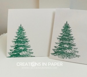 This pine tree makes the perfect winter scene. Add some bare trees from Winter Woods by Stampin' Up and some snow hills and you have the makings for a great winter card. See how I used them for my Winter creation.