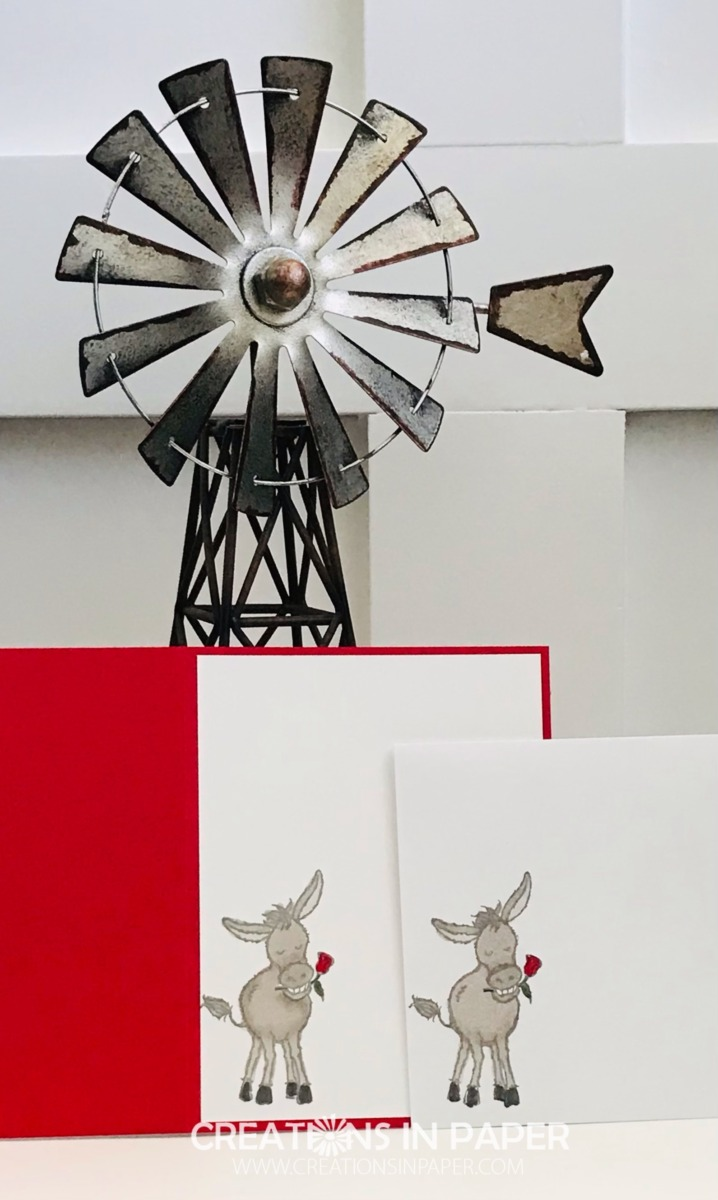 Don't miss the card front for this cute card. See the details for the Sale-a-bration Darling Donkeys card by clicking through.