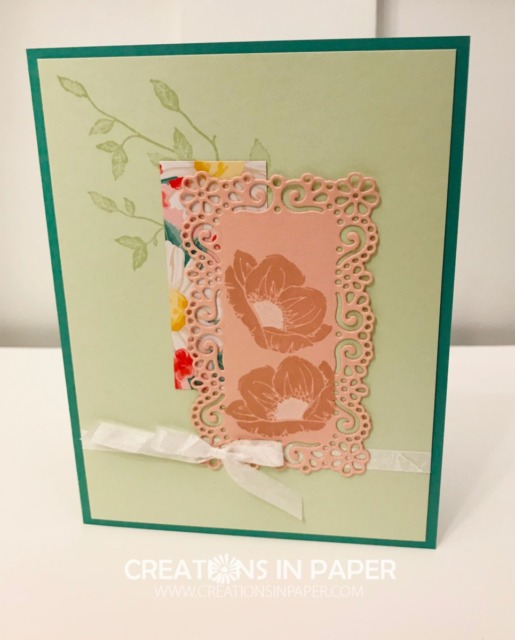 Here is a clean and simple card. The Ornate Layers Die Idea make it easy to create this pretty card. Get all the details so you can make your own.