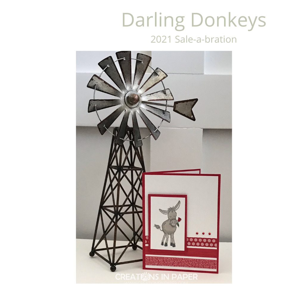 Check out this adorable donkey with a rose. The Sale-a-bration Darling Donkeys make the cutest cards. Get the details on the blog.