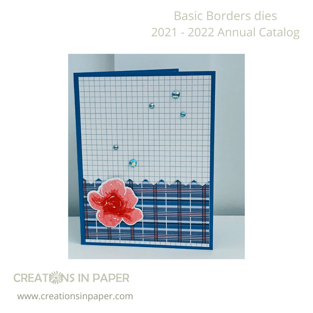 The Border Dies made it easy to create a clean and simple feminine card using masculine patterned paper. View all products used by clicking the image.