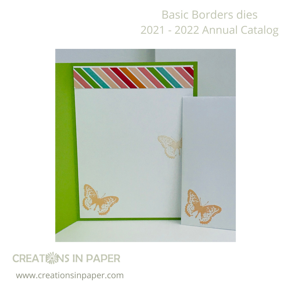 The fun paper at the top makes the perfect background for my card front. Don't miss seeing the Border Edge Dies idea!