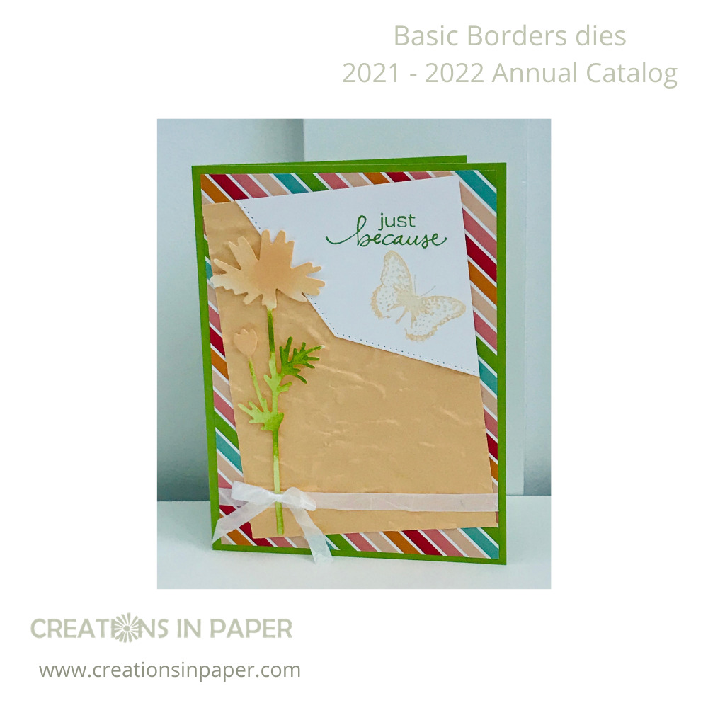The bright colors of the patterned paper made it easy to create this card. Don't you just love how I used the Border Edge Dies for the sentiment element? Take a closer look by clicking the picture.