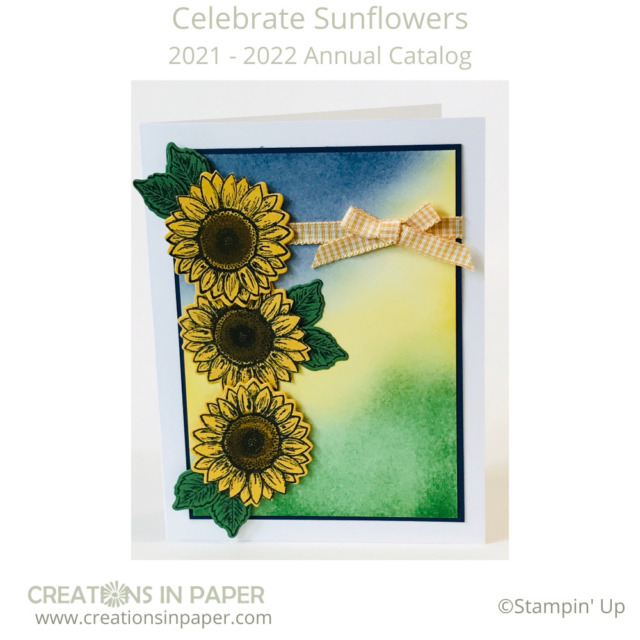 Don't you love using ink to create a background scene.  Check out the Blending Ink on this card that created a scene of ground/grass, sun rising, and the sky.  Perfect background for these sunflowers!