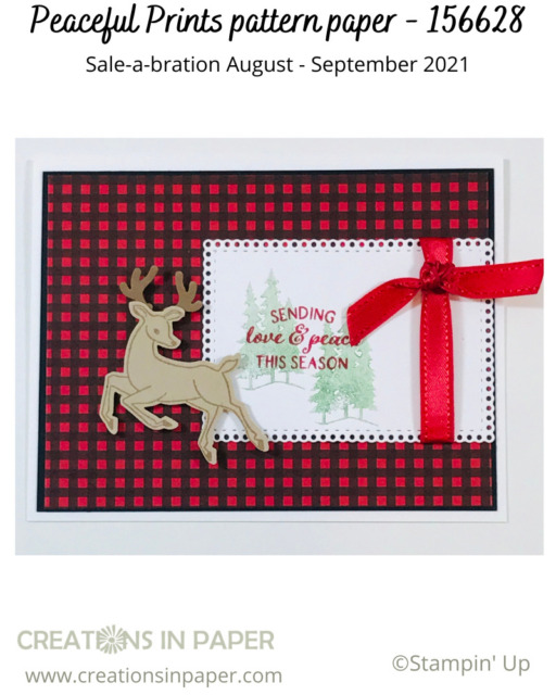 Making a masculine Christmas card can be a challenge.  This idea is easy as the pattern paper sets the tone.  Learn how to get this paper free.